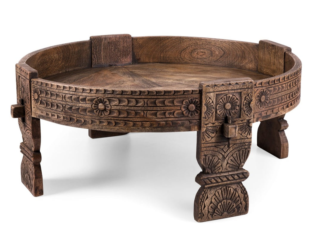 Eric_Indian Carved Chakki Coffee Table