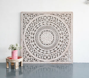 Iliza_Wooden Carved Wall Panel_122 x 122 cm_Distressed Finish