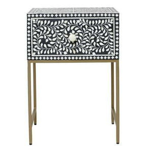 Jessi Bone Inlay Bed Side Table with Metal Stand