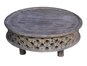 Andrea_Solid Indian Wood Carved Round Coffee Table