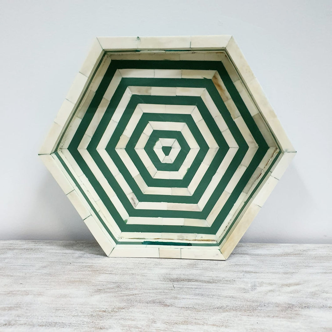 Tissaia_Hexagonal Bone Inlay Tray in Green