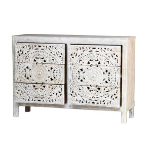 Elayn_Hand Craved Indian Wood 6 Drawers Chest_Dresser
