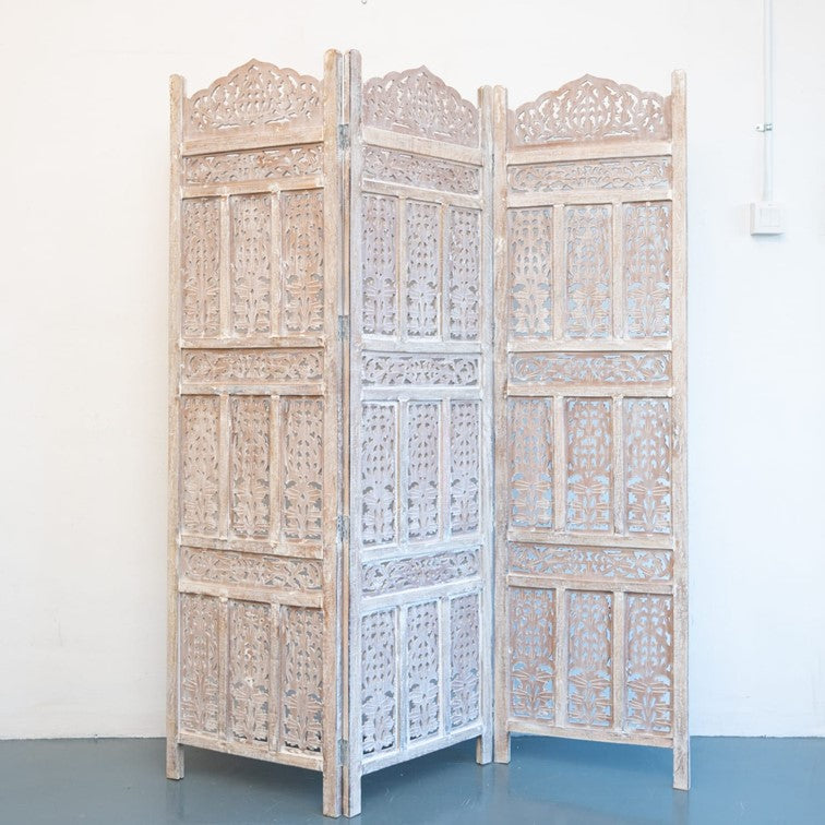 Alan_Wooden Carved Screen 3 Panel_Room Divider_Distressed Finish