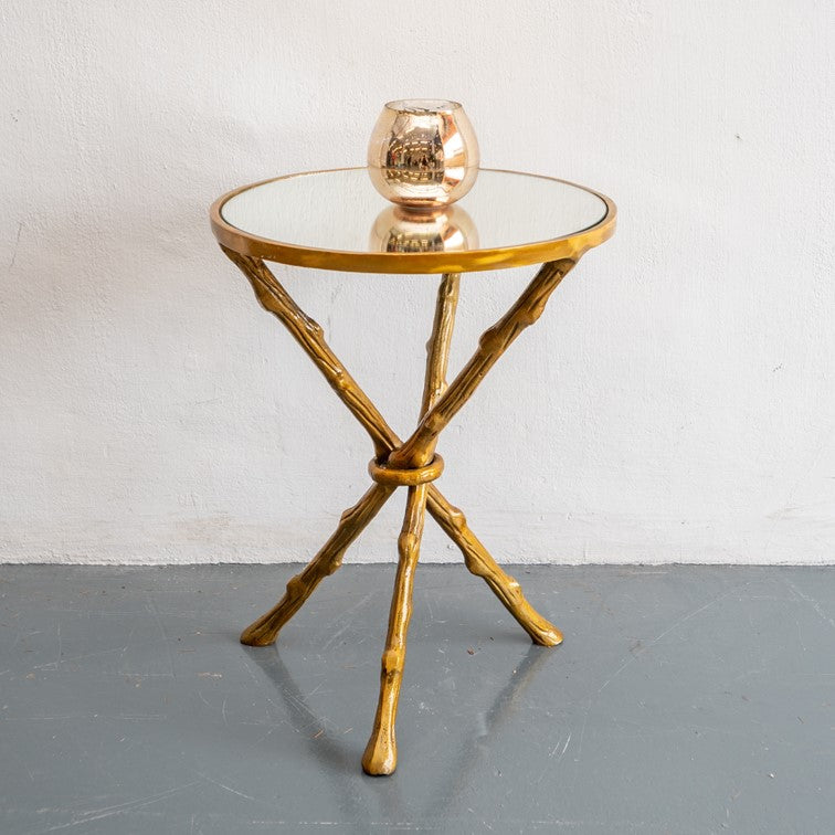 Jenn_Gold Leaf Branches Round Accent Table with Mirror Top