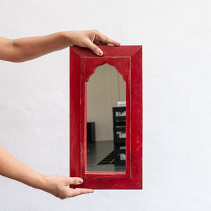 Rima Hand Painted Wooden Mirror in Multi Colors 24 x 46 cm