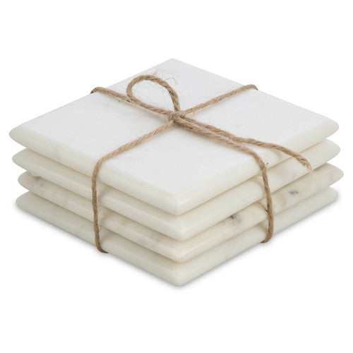 Hutton White Marble Coasters Set of 4