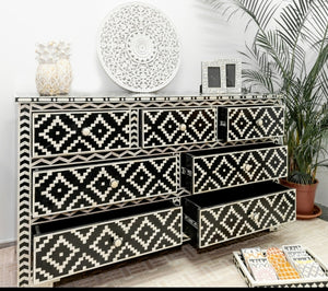 Kylie Bone Inlay Chest of Drawer with 7 Drawers