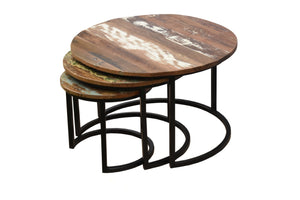 Lina Nesting Coffee Table Set of 3 with Reclaimed wood top