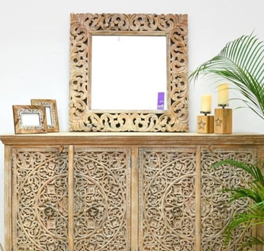 Jane Indian Solid Wood Square Carved Mirror