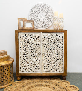 Rorry_Solid Indian Wood Carved 2 Door Cabinet_Dresser