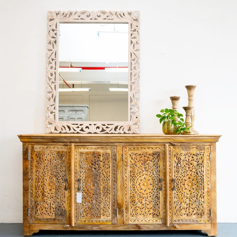 Ember Hand Carved Solid Indian Wood Sideboard
