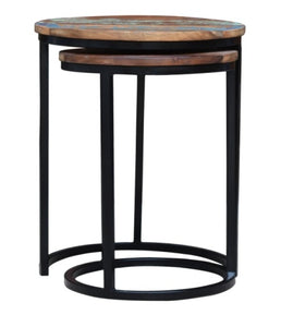 Wesley_Solid Indian Reclaimed Wood Round Nesting Table