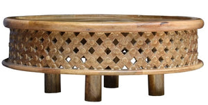 Ferrel Solid Indian Wood Carved Round Coffee Table