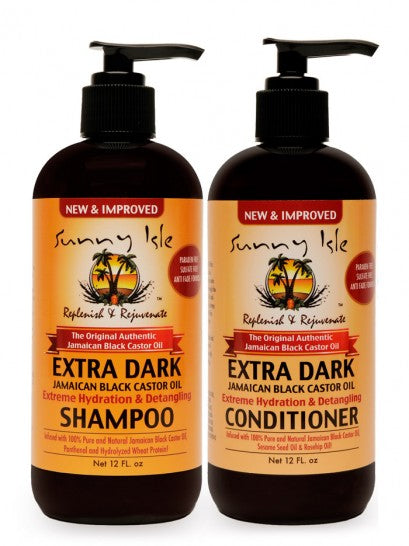SUNNY ISLE EXTRA DARK JBCO HYDRATION & DETANGLING SHAMPOO AND CONDITIONER 12OZ WITH EDGE HAIR GEL KIT