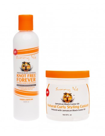 SUNNY ISLE JBCO KNOT FREE FOREVER LEAVE IN DETANGLER AND CURLING CUSTARD BUNDLE