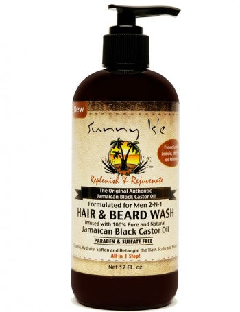SUNNY ISLE JAMAICAN BLACK CASTOR OIL FORMULATED FOR MEN 2-N-1 HAIR AND BEARD WASH 12OZ