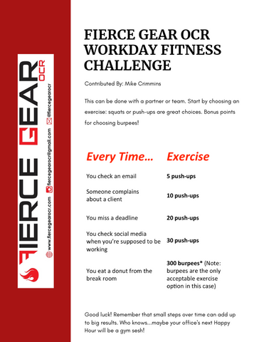 "Fierce Gear OCR workplace fitness challenge for ""obstacle course race"" training"