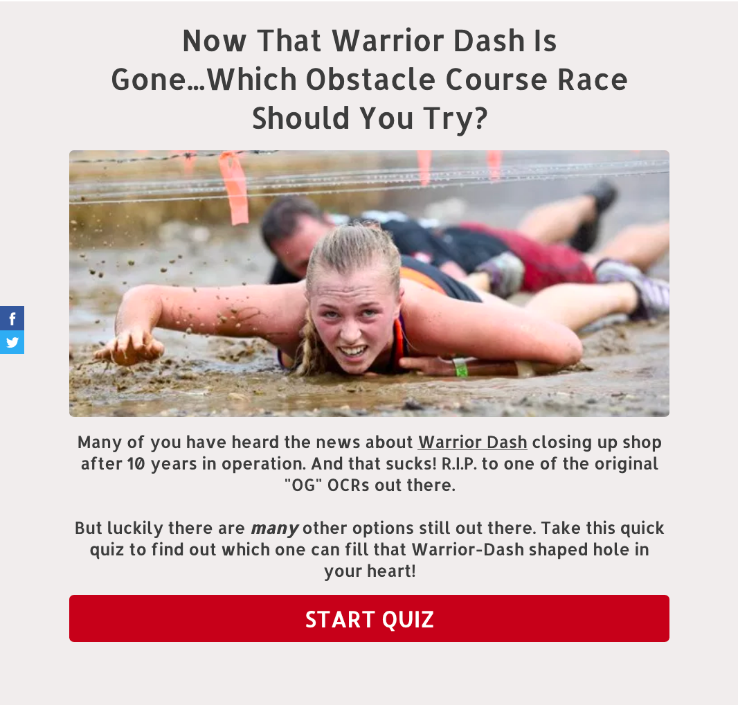 Quiz Now That Warrior Dash Is Gone Which Obstacle Course Race Should I Try
