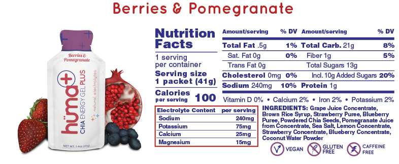Huma Chia Energy Gel: Chia Plus (Berries & Pomegranate)