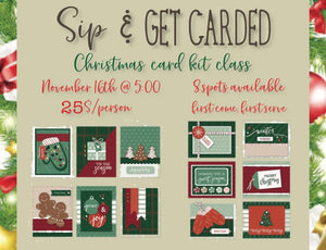 Sip and get carded Xmas card class