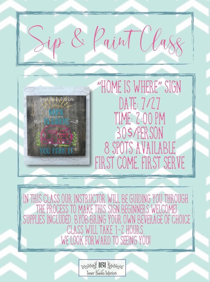 Sip and paint; make & take sign class