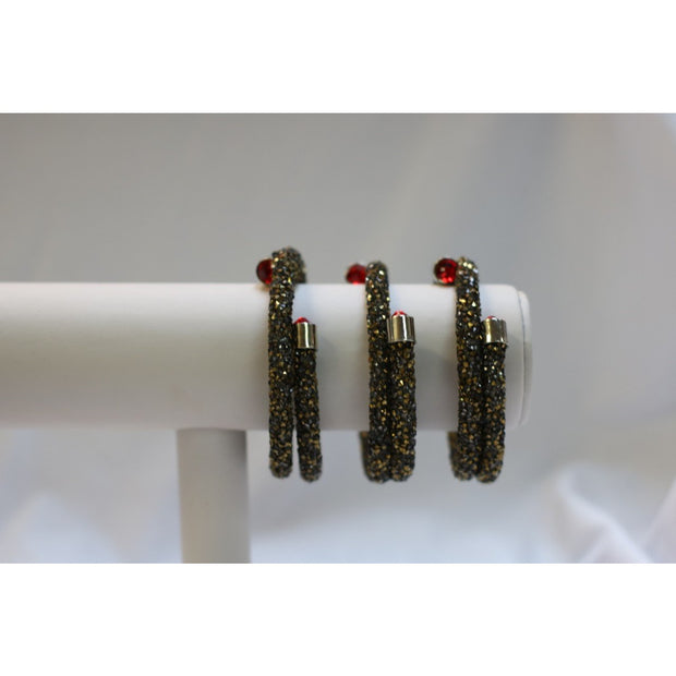 Sparkler Bangles - Black Gold Solid Set