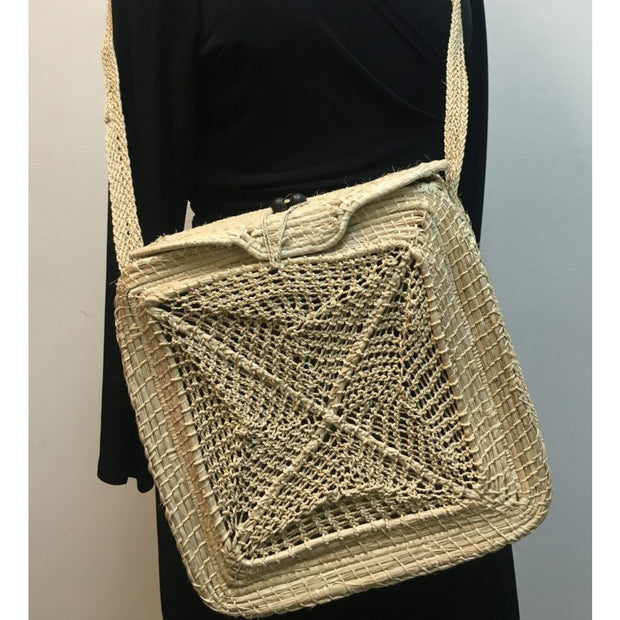 Square Bag w/ Crochet insert-Natural Crossbody