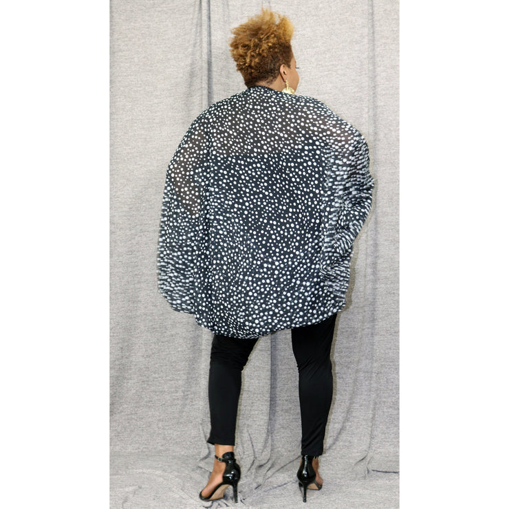 Patty Polka Dot Drama Sleeve  Cocoon