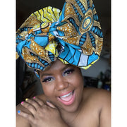 Face Fashion & Head-wrap Sets- Gold Metallic Overlay Prints