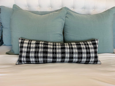 Vintage Long Black & White Checkered Bolster from Thailand