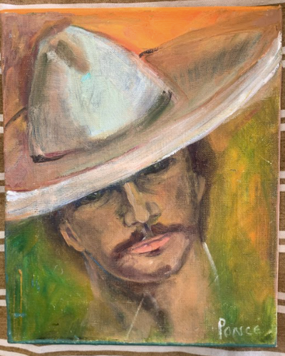 Signed Vintage Cowboy Oil Painting, 1980