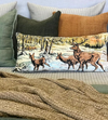 Vintage Deer Silk Velvet Bolster Pillow
