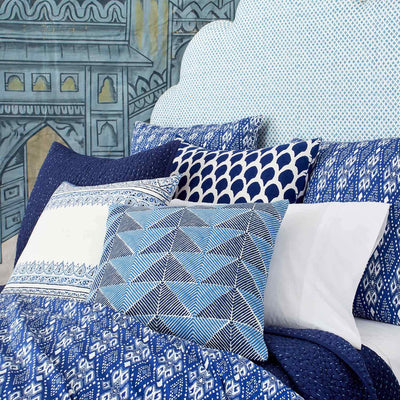 Nadole Indigo Euro Decorative Pillow John Robshaw Blue Springs Home- bluespringshome