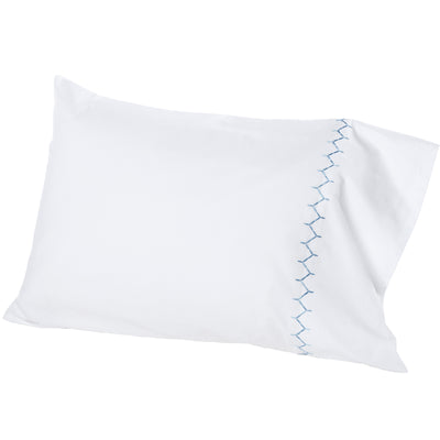 John Robshaw Stitched Light Indigo Sheeting and Shams  John Robshaw Blue Springs Home- bluespringshome