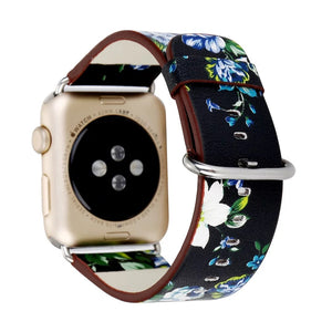 British Rural Floral Leather Band for Apple Watch