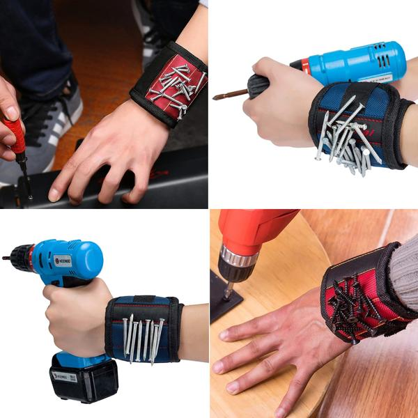 Adjustable Magnetic Wristband Tool Holder for Screws, Nails etc