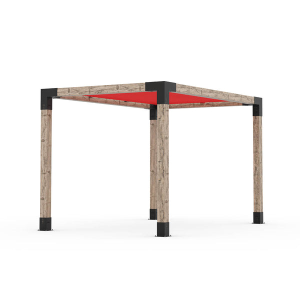 Pergola Kit With Shade Sail For 6x6 Wood Posts _8x12_crimson