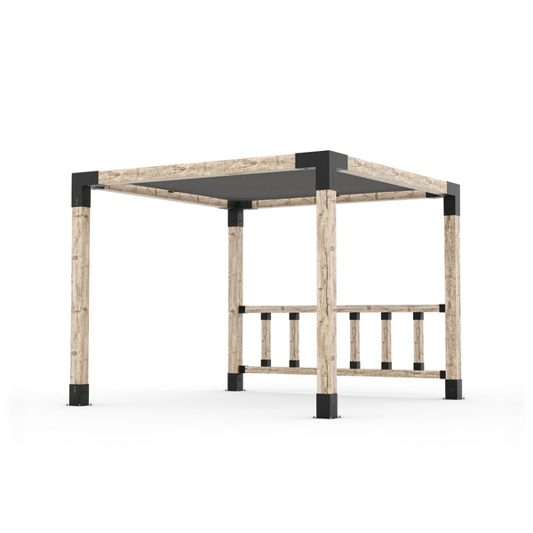 Pergola Kit with Post Wall for 6x6 Wood Posts _10x10_graphite _10x10_crimson _10x10_denim _10x10_white