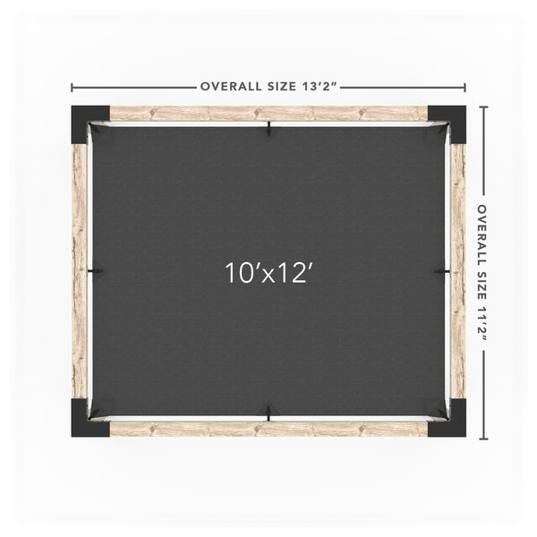Pergola Kit with Post Wall for 6x6 Wood Posts _10x12_graphite _10x12_crimson _10x12_denim _10x12_white