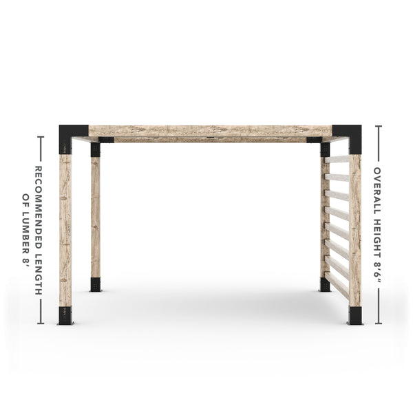 Pergola Kit with Post Wall for 6x6 Wood Posts _12x12_graphite _12x12_crimson _12x12_denim _12x12_white