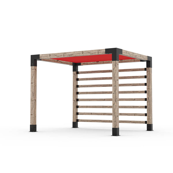 Pergola Kit with Post Wall for 6x6 Wood Posts _8x10_crimson