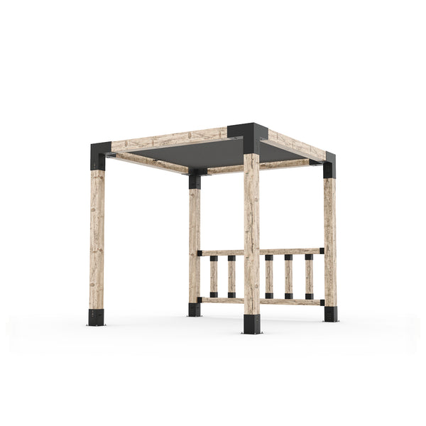 Pergola Kit with Post Wall for 6x6 Wood Posts _8x8_graphite _8x8_crimson _8x8_denim _8x8_white