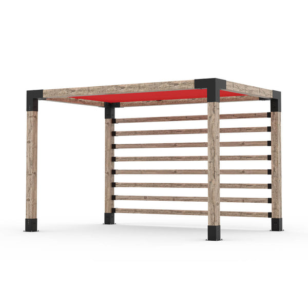 Pergola Kit with Post Wall for 6x6 Wood Posts _8x12_crimson