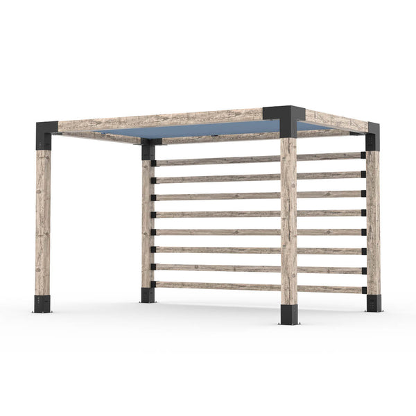 Pergola Kit with Post Wall for 6x6 Wood Posts _8x12_denim