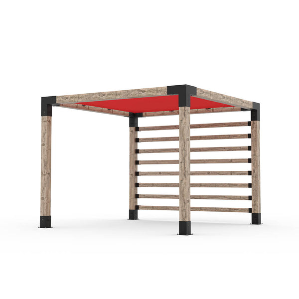 Pergola Kit with Post Wall for 6x6 Wood Posts _10x10_crimson