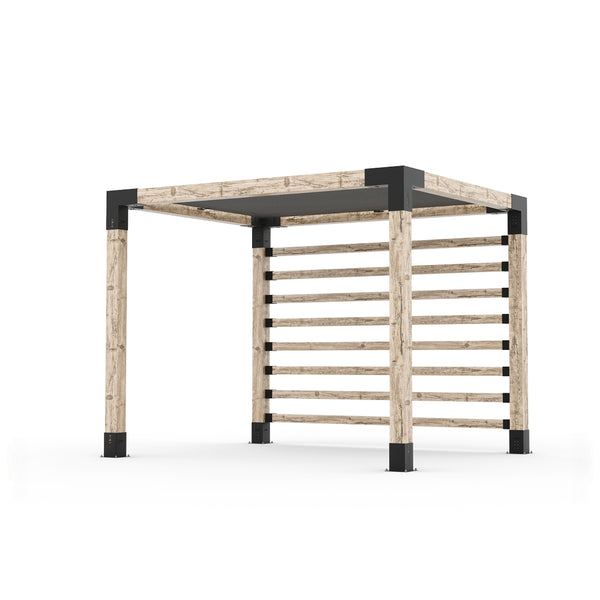 Pergola Kit with Post Wall for 6x6 Wood Posts _8x10_graphite