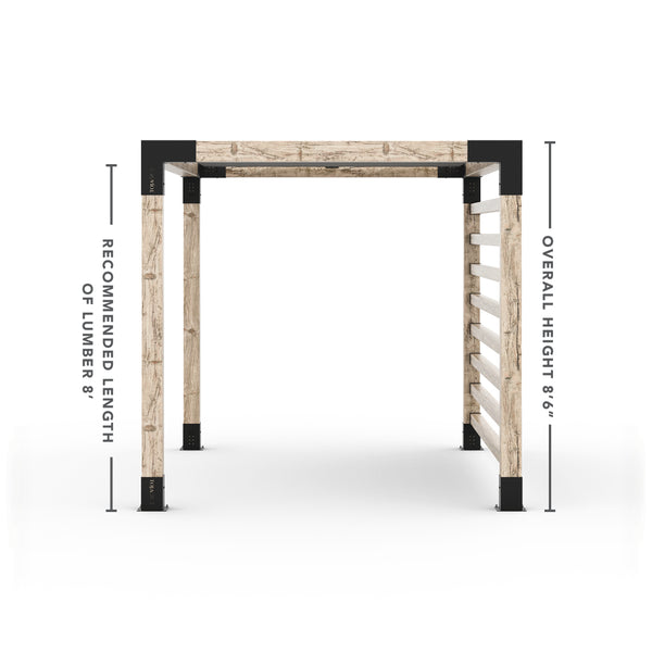 Pergola Kit with Post Wall for 6x6 Wood Posts _8x10_graphite _8x10_crimson _8x10_denim _8x10_white