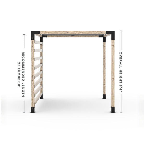 Pergola Kit with Post Wall for 4x4 Wood Posts _8x12_graphite _8x12_crimson _8x12_denim _8x12_white