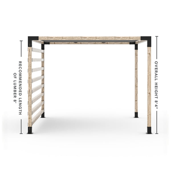 Pergola Kit with Post Wall for 4x4 Wood Posts _10x12_graphite _10x12_crimson _10x12_denim _10x12_white