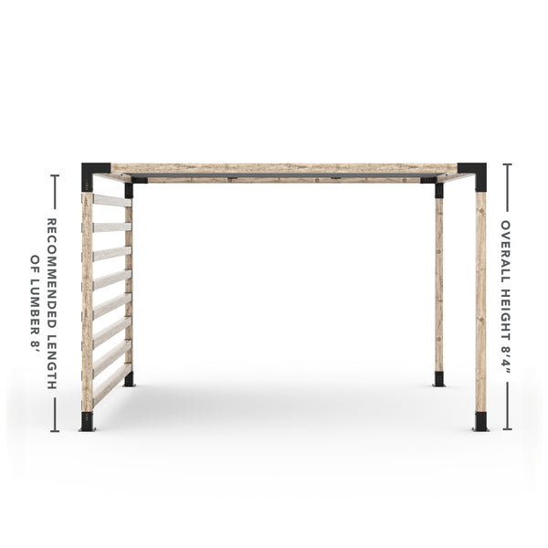Pergola Kit with Post Wall for 4x4 Wood Posts _12x12_graphite _12x12_crimson _12x12_denim _12x12_white